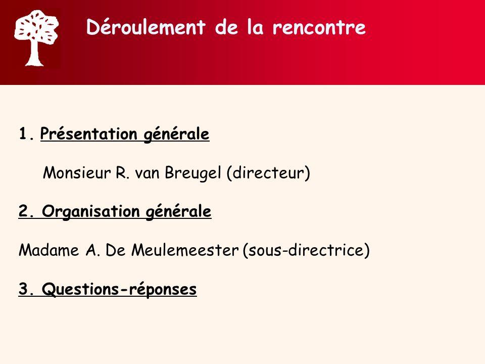 Déroulement de la rencontre 1.Présentation générale Monsieur R. van Breugel (directeur) 2. Organisation générale Madame A. De Meulemeester (sous-direc
