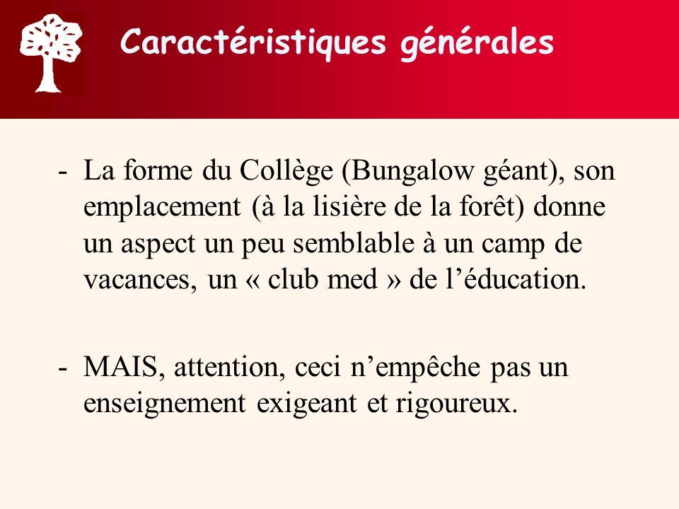 Caractéristiques générales -La forme du Collège (Bungalow géant), son emplacement (à la lisière de la forêt) donne un aspect un peu semblable à un cam