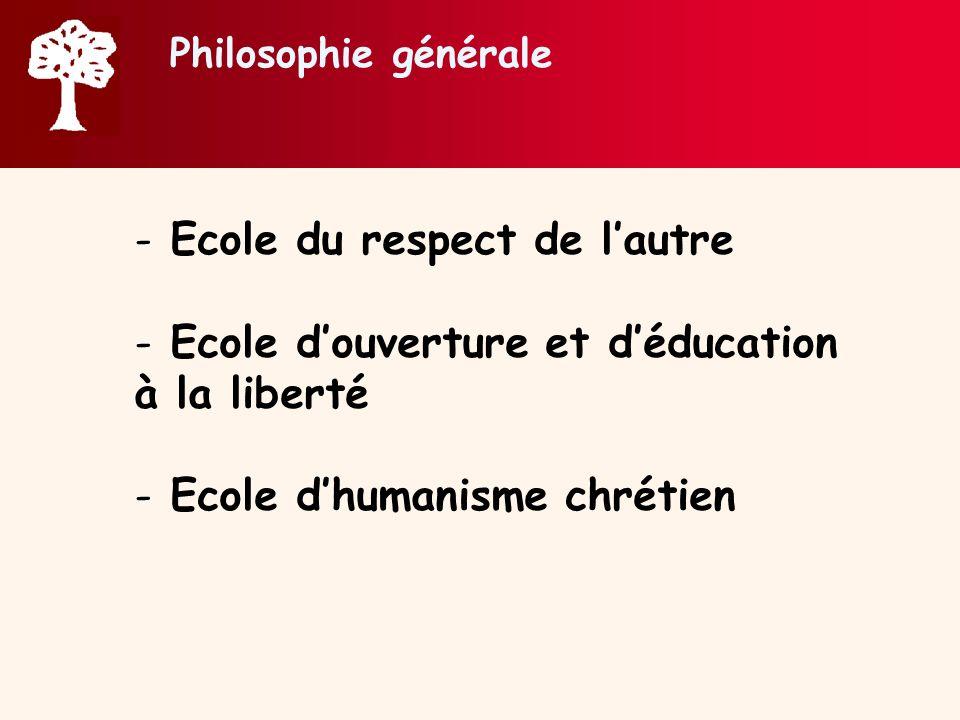 Philosophie générale - Ecole du respect de lautre - Ecole douverture et déducation à la liberté - Ecole dhumanisme chrétien