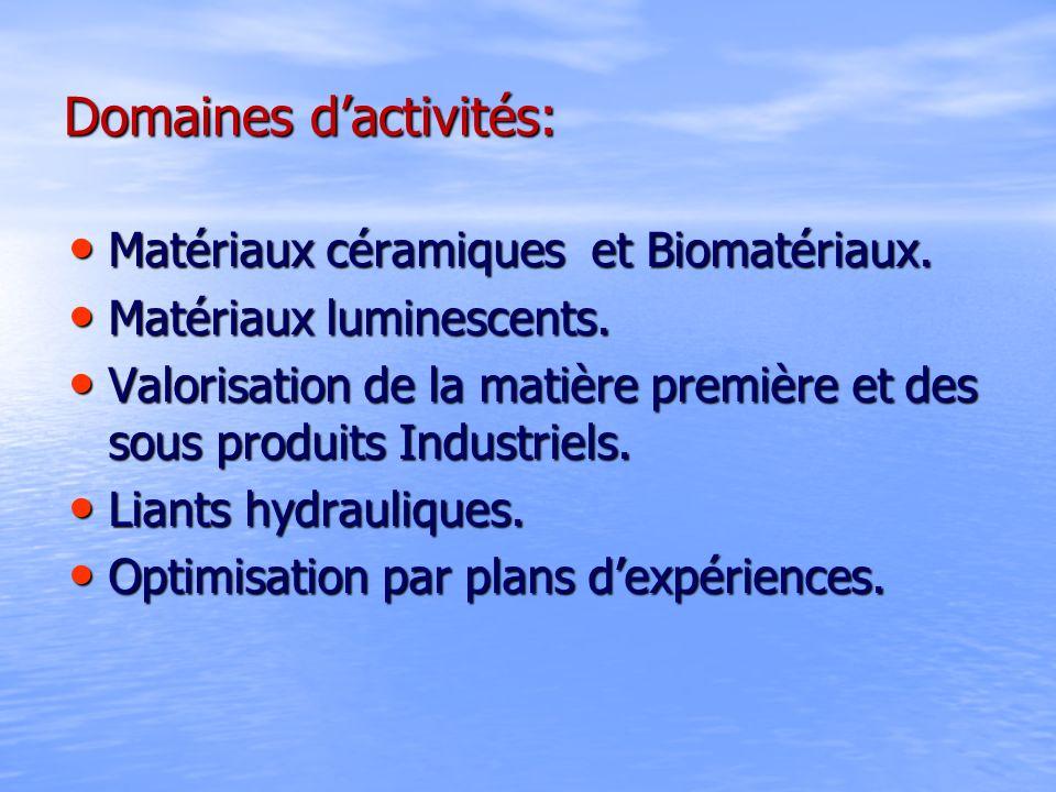 Domaines dactivités: Matériaux céramiques et Biomatériaux. Matériaux céramiques et Biomatériaux. Matériaux luminescents. Matériaux luminescents. Valor