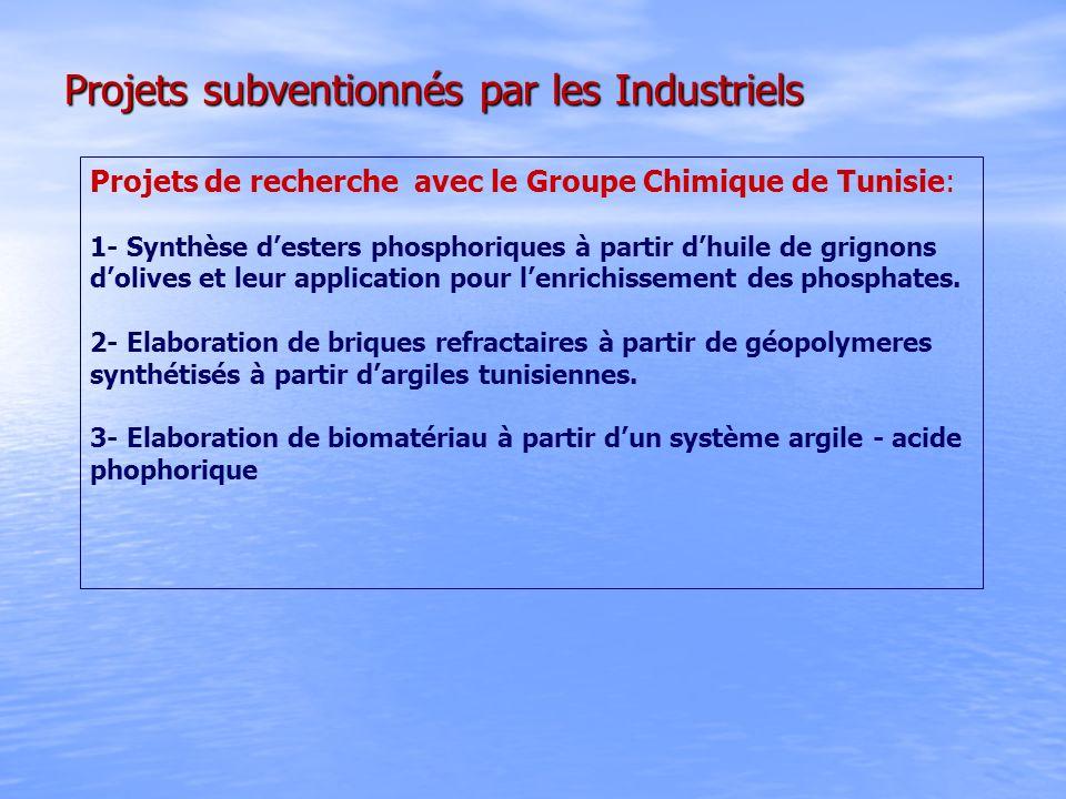 Projets subventionnés par les Industriels Projets de recherche avec le Groupe Chimique de Tunisie: 1- Synthèse desters phosphoriques à partir dhuile d