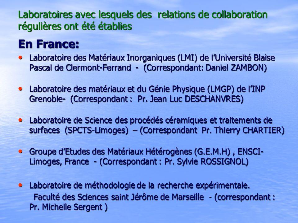 Laboratoires avec lesquels des relations de collaboration régulières ont été établies Laboratoires avec lesquels des relations de collaboration réguli