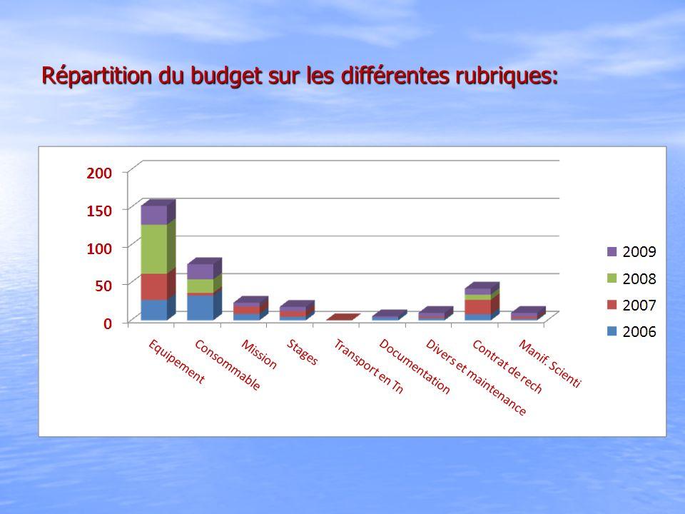 Répartition du budget sur les différentes rubriques: