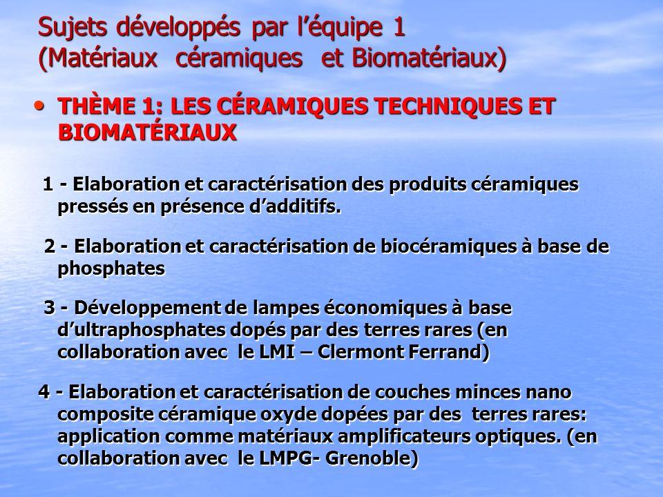 Sujets développés par léquipe 1 (Matériaux céramiques et Biomatériaux) Sujets développés par léquipe 1 (Matériaux céramiques et Biomatériaux) THÈME 1: