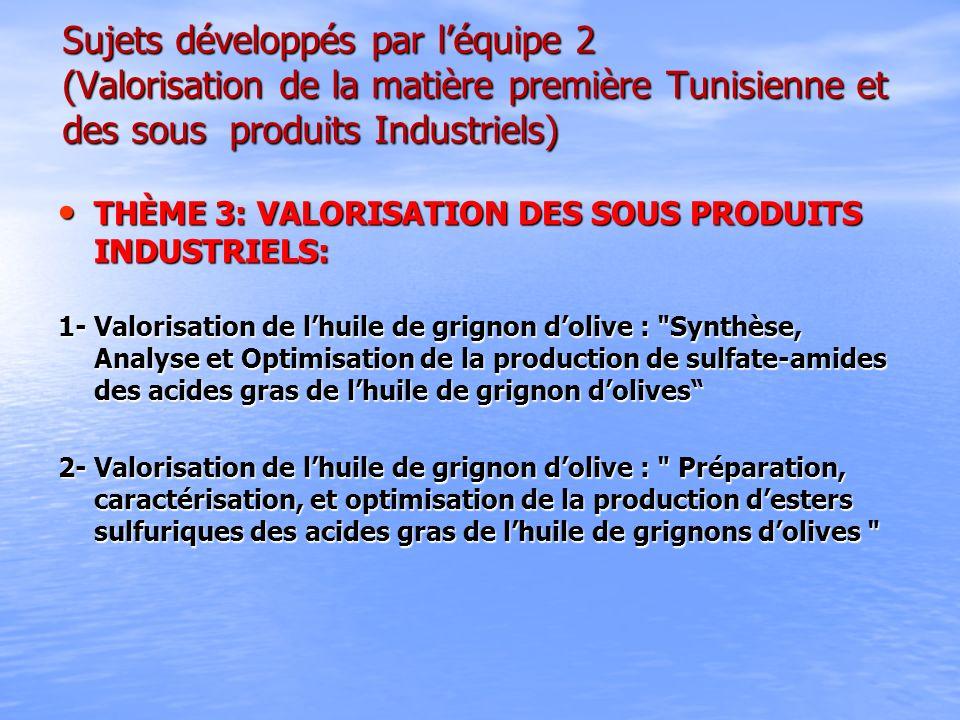 Sujets développés par léquipe 2 (Valorisation de la matière première Tunisienne et des sous produits Industriels) THÈME 3: VALORISATION DES SOUS PRODU