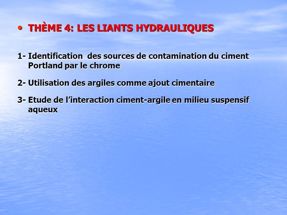THÈME 4: LES LIANTS HYDRAULIQUES THÈME 4: LES LIANTS HYDRAULIQUES 1- Identification des sources de contamination du ciment Portland par le chrome 2- U