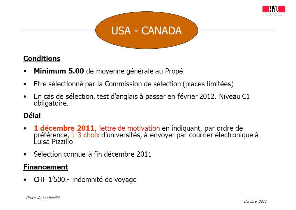 Octobre 2011 Office de la Mobilité Conditions Minimum 5.00 de moyenne générale au Propé Etre sélectionné par la Commission de sélection (places limité