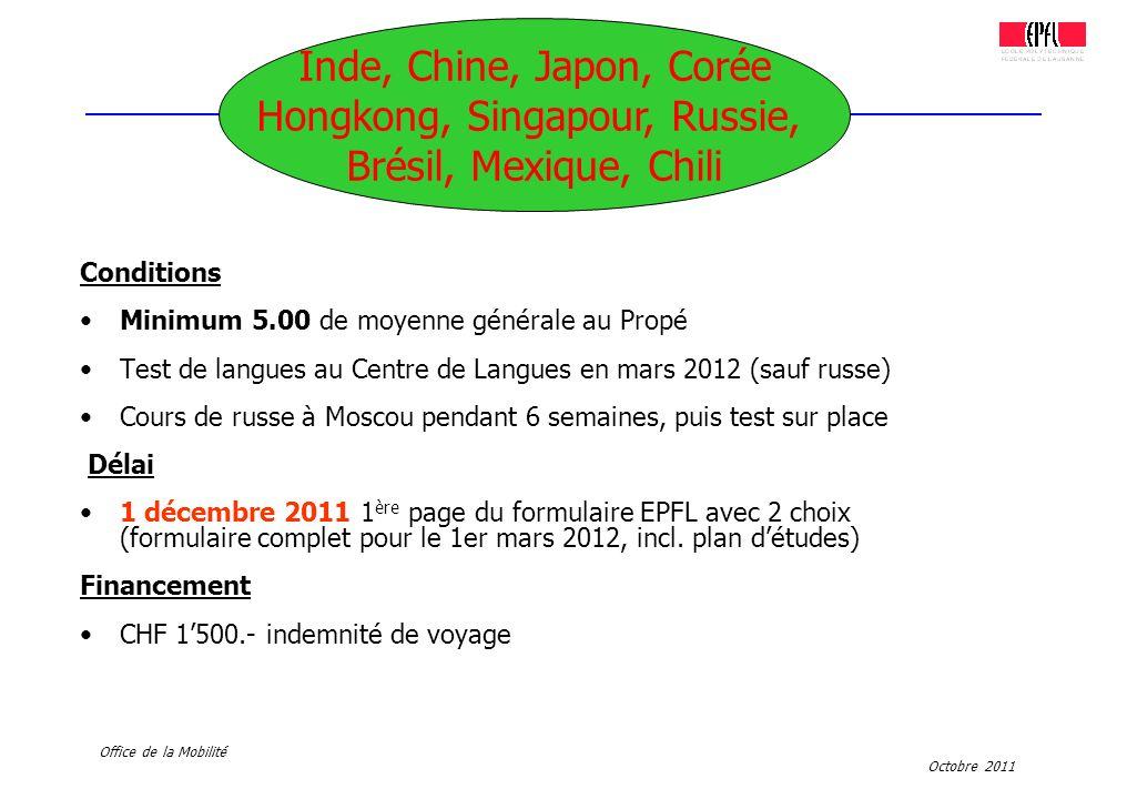 Octobre 2011 Office de la Mobilité Conditions Minimum 5.00 de moyenne générale au Propé Test de langues au Centre de Langues en mars 2012 (sauf russe)