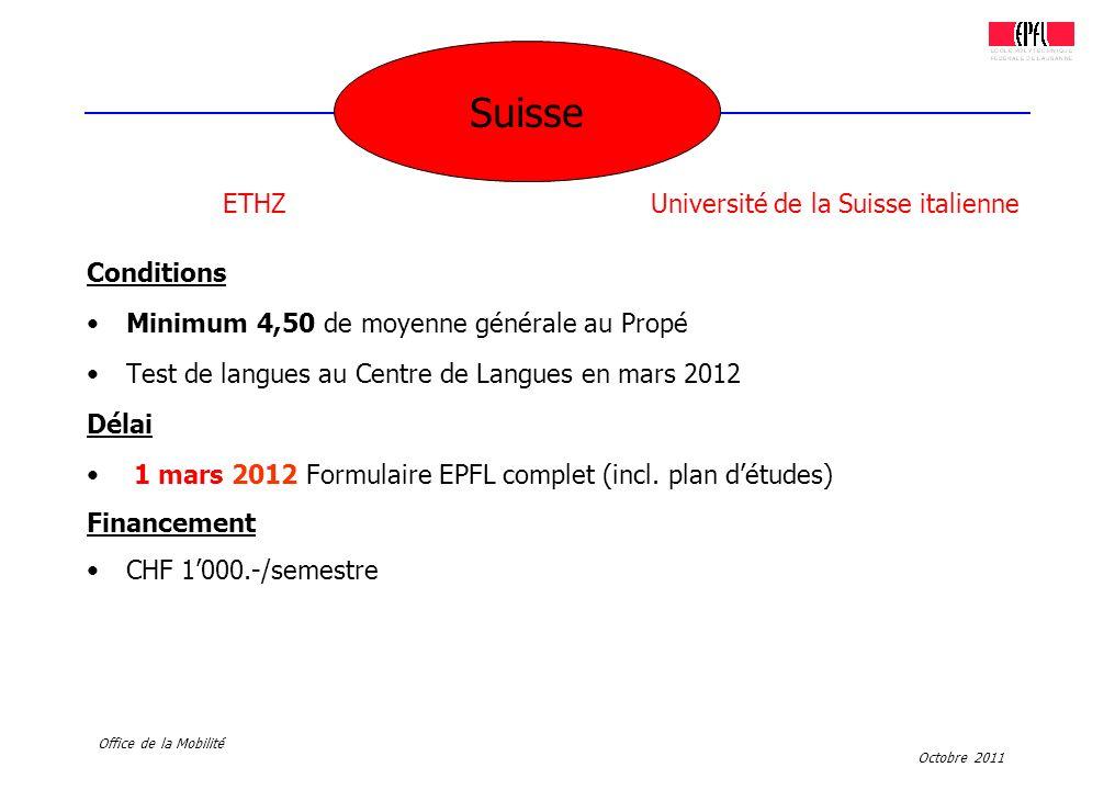 Octobre 2011 Office de la Mobilité Conditions Minimum 4,50 de moyenne générale au Propé Test de langues au Centre de Langues en mars 2012 Délai 1 mars