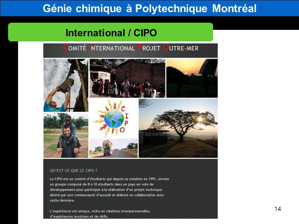 Génie chimique à Polytechnique Montréal International / CIPO 14