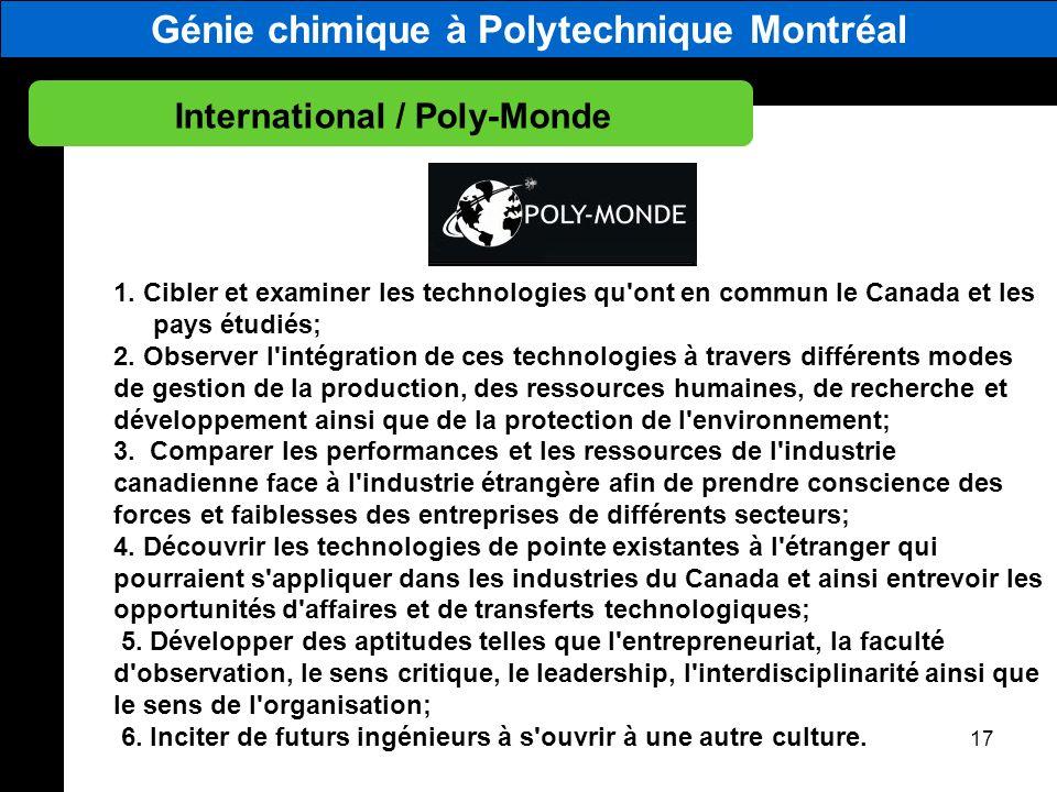 Génie chimique à Polytechnique Montréal International / Poly-Monde 17 1. Cibler et examiner les technologies qu'ont en commun le Canada et les pays ét