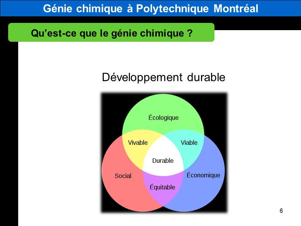 Génie chimique à Polytechnique Montréal Quest-ce que le génie chimique ? 6 Développement durable