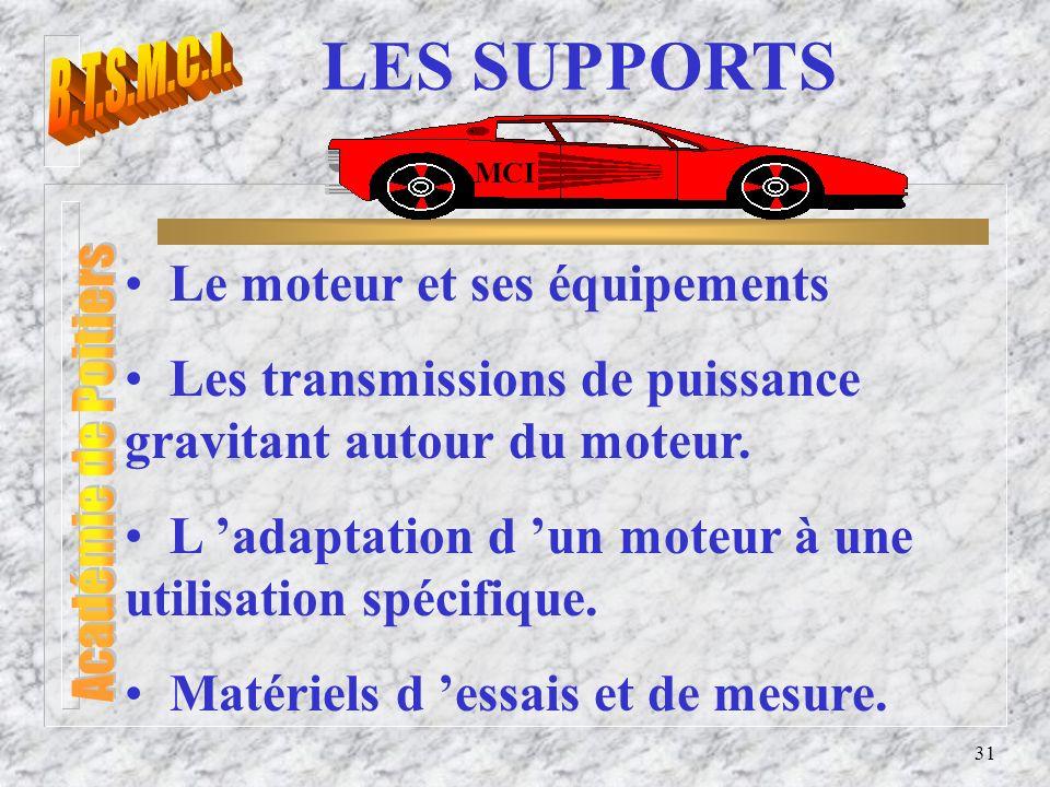 31 LES SUPPORTS Le moteur et ses équipements Les transmissions de puissance gravitant autour du moteur. L adaptation d un moteur à une utilisation spé