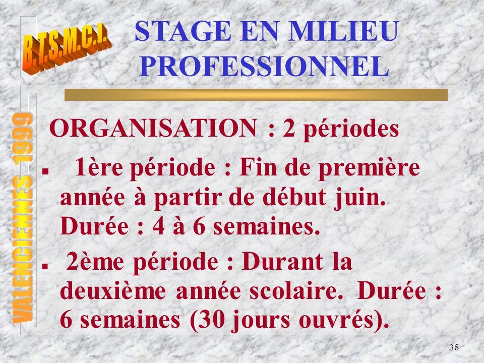 39 STAGE EN MILIEU PROFESSIONNEL Il est souhaitable que les 2 stages se déroulent dans la même entreprise.