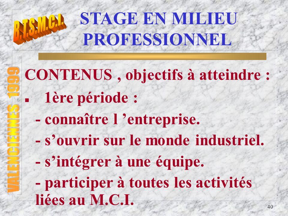 41 STAGE EN MILIEU PROFESSIONNEL n 2ème période : Proposer à létudiant un parcours de formation qui lui permettra d atteindre tout ou partie des compétences définies par le référentiel.