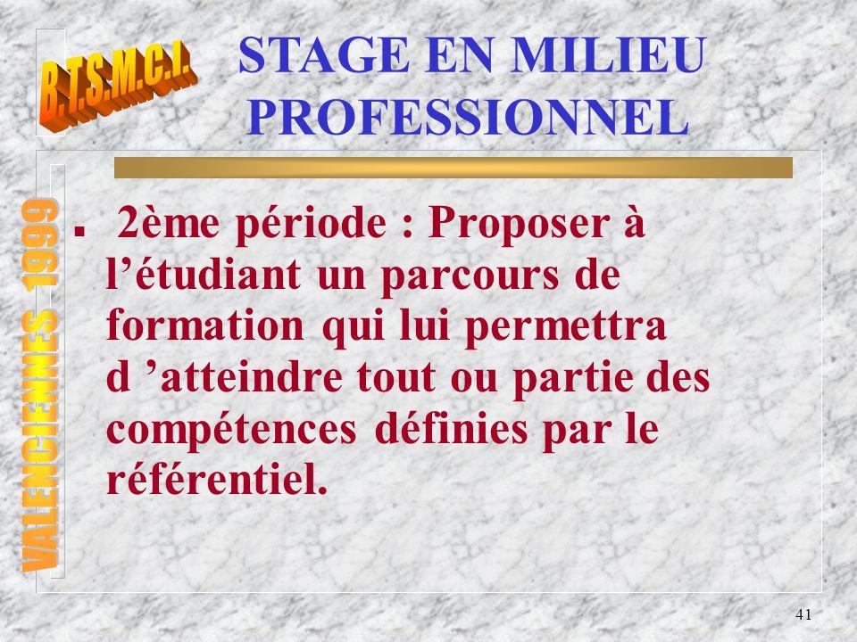 42 STAGE EN MILIEU PROFESSIONNEL n Le plan de stage doit être si possible accompagné dun cahier des charges tripartite (entreprise- établissement de formation-élève).