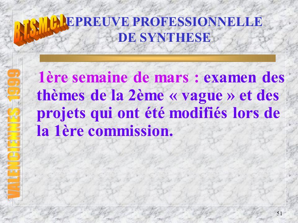 52 EPREUVE PROFESSIONNELLE DE SYNTHESE Commission d interrogation : n 2 professeurs de S.T.I.
