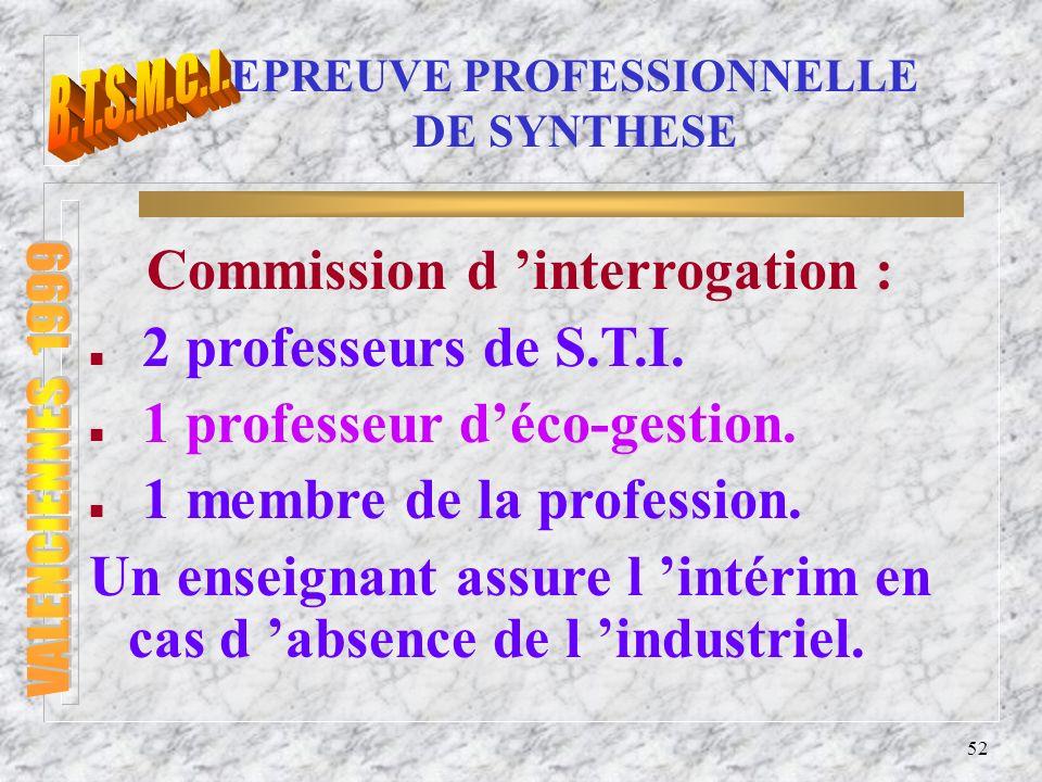 53 EPREUVE PROFESSIONNELLE DE SYNTHESE EVALUATION : elle porte sur la qualité du travail réalisé par le candidat.