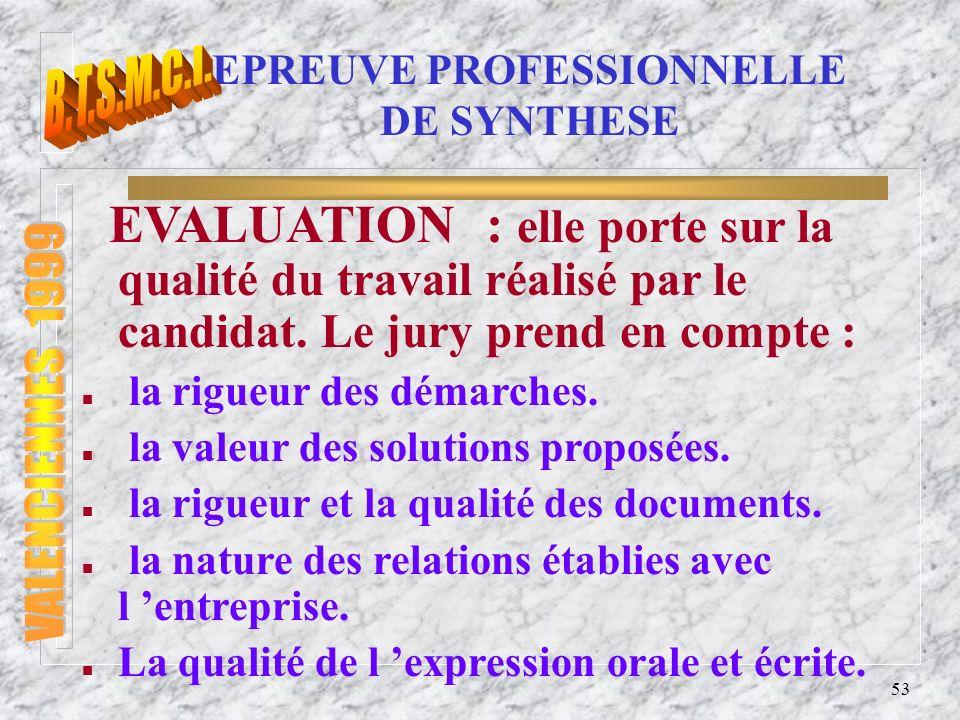 54 EPREUVE PROFESSIONNELLE DE SYNTHESE L épreuve se déroule en 2 phases : n La soutenance du dossier.