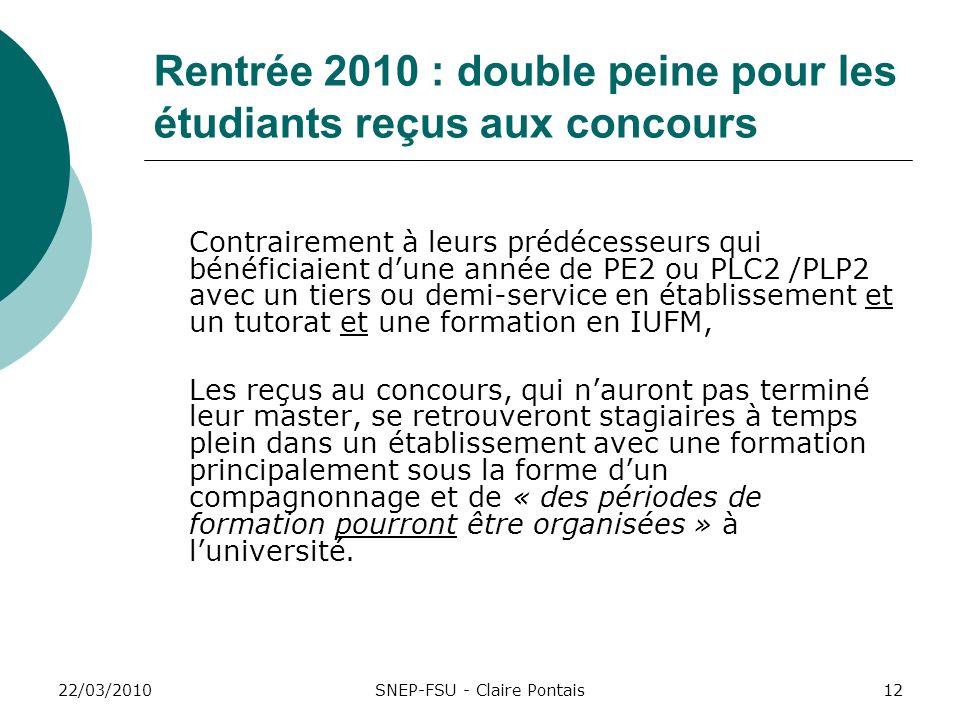 22/03/201012 Rentrée 2010 : double peine pour les étudiants reçus aux concours Contrairement à leurs prédécesseurs qui bénéficiaient dune année de PE2