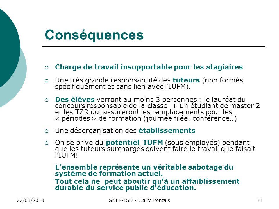 22/03/201014 Conséquences Charge de travail insupportable pour les stagiaires Une très grande responsabilité des tuteurs (non formés spécifiquement et sans lien avec lIUFM).