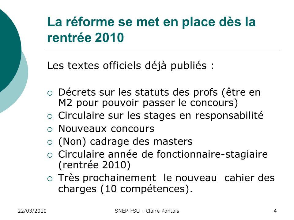 22/03/20104 La réforme se met en place dès la rentrée 2010 Les textes officiels déjà publiés : Décrets sur les statuts des profs (être en M2 pour pouv