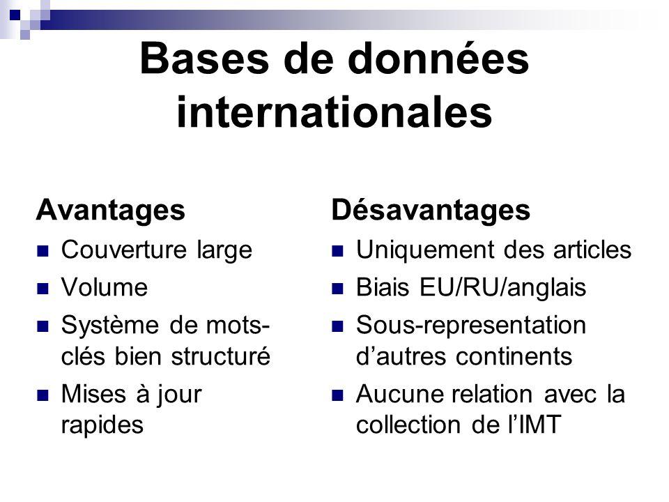 Bases de données internationales Avantages Couverture large Volume Système de mots- clés bien structuré Mises à jour rapides Désavantages Uniquement d