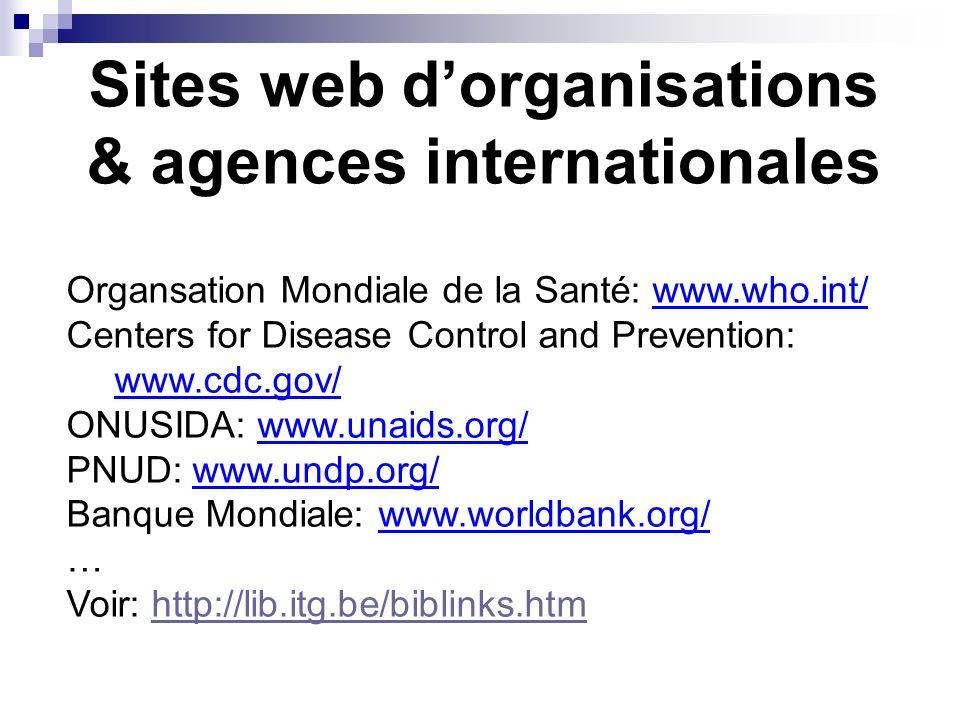 Exemples Medline / PubMed (NLM) Global Health (CABI) Popline Lilacs [Amérique latine!] Voir: http://lib.itg.be/datab.htm