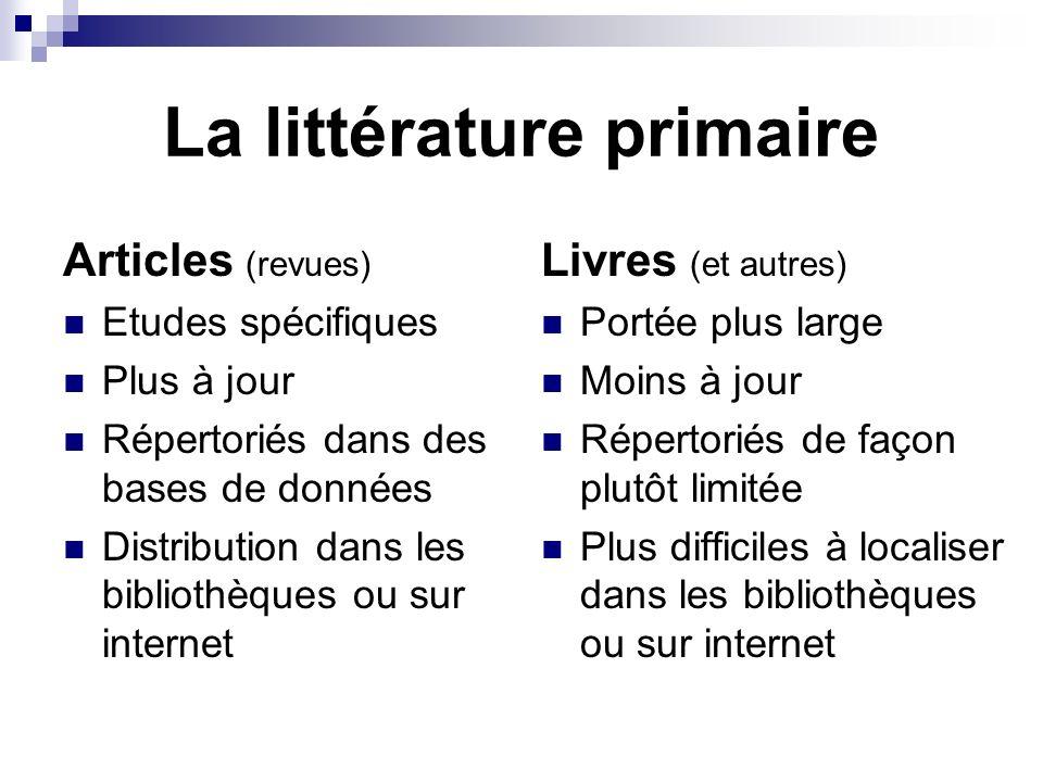 La littérature primaire Articles (revues) Etudes spécifiques Plus à jour Répertoriés dans des bases de données Distribution dans les bibliothèques ou