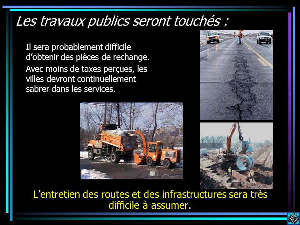 Les travaux publics seront touchés : Lentretien des routes et des infrastructures sera très difficile à assumer. Il sera probablement difficile dobten