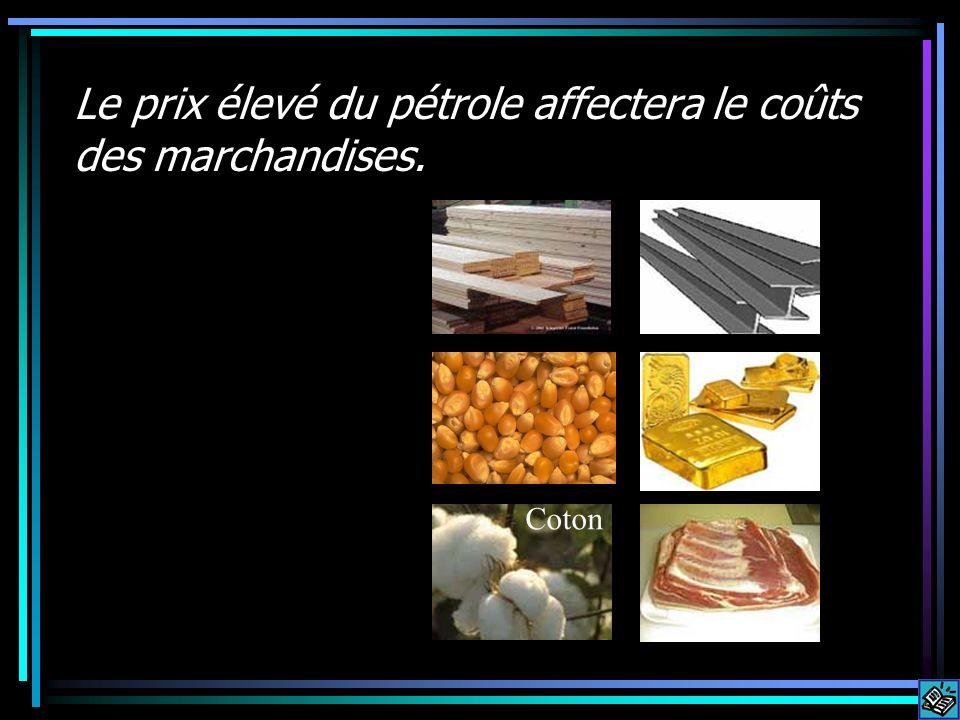 Le prix élevé du pétrole affectera le coûts des marchandises. Coton