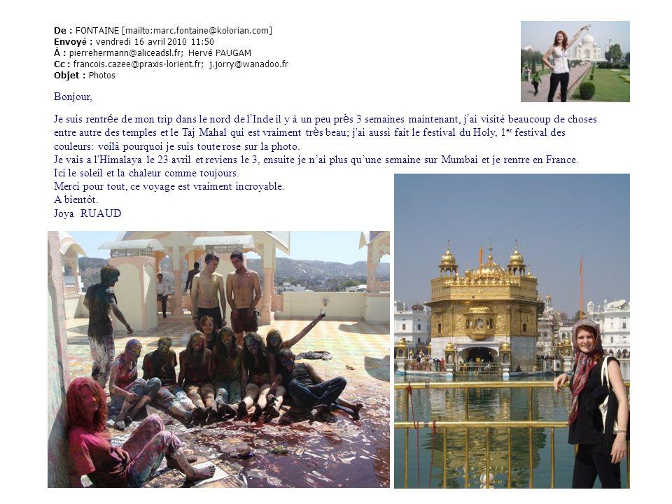 De : FONTAINE [mailto:marc.fontaine@kolorian.com] Envoy é : vendredi 16 avril 2010 11:50 À : pierrehermann@aliceadsl.fr; Herv é PAUGAM Cc : francois.c