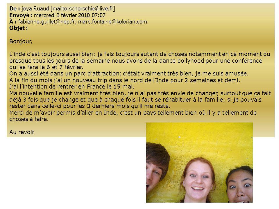 De : joya Ruaud [mailto:schorschie@live.fr] Envoy é : mercredi 3 f é vrier 2010 07:07 À : fabienne.guillet@nep.fr; marc.fontaine@kolorian.com Objet :