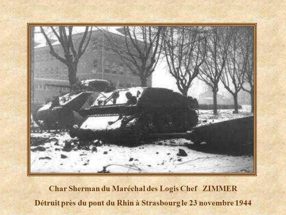 Maréchal des Logis Chef ZIMMER natif de La Wantzenau dans son Sherman Mort près du pont du Rhin à Strasbourg le 23 novembre 1944