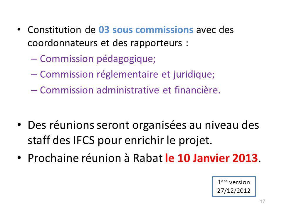 Constitution de 03 sous commissions avec des coordonnateurs et des rapporteurs : – Commission pédagogique; – Commission réglementaire et juridique; –