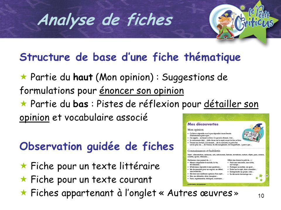 10 Structure de base dune fiche thématique Partie du haut (Mon opinion) : Suggestions de formulations pour énoncer son opinion Partie du bas : Pistes