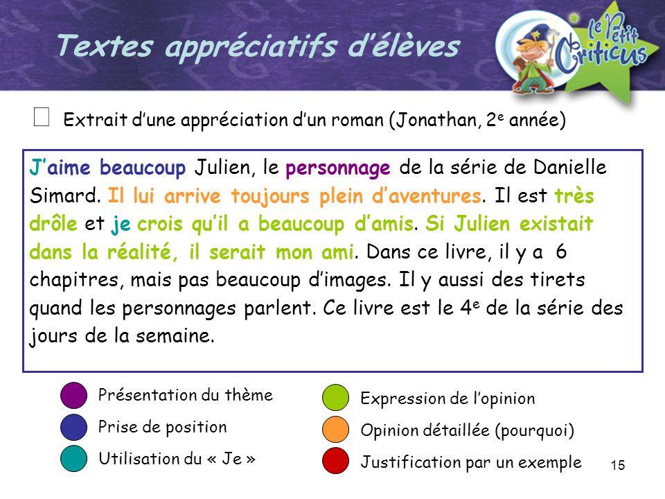15 Jaime beaucoup Julien, le personnage de la série de Danielle Simard. Il lui arrive toujours plein daventures. Il est très drôle et je crois quil a