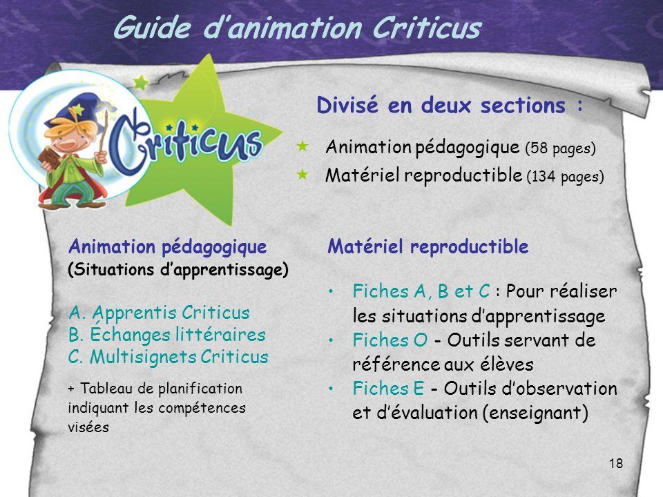 18 Guide danimation Criticus Divisé en deux sections : Animation pédagogique (58 pages) Matériel reproductible (134 pages) Animation pédagogique (Situ