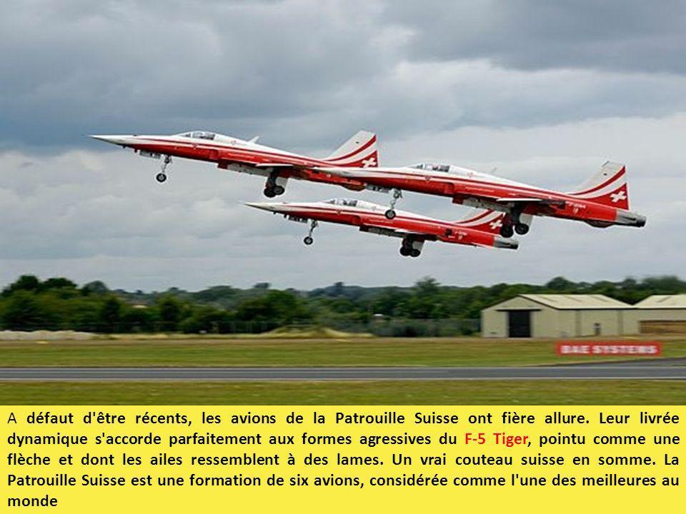 A défaut d'être récents, les avions de la Patrouille Suisse ont fière allure. Leur livrée dynamique s'accorde parfaitement aux formes agressives du F-
