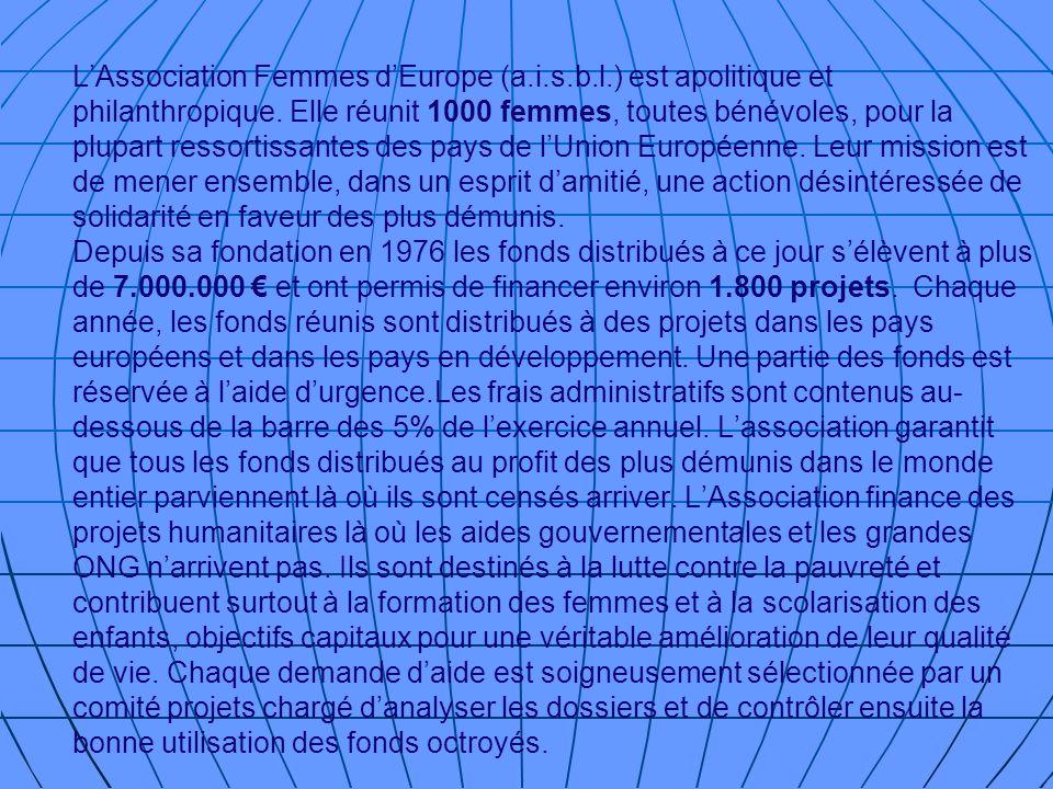 Collecte de Fonds Fund Raising Afin de réunir les fonds pour financer ses projets lAssociation Femmes dEurope organise chaque année plusieurs manifestations: concerts, conférences, expositions...Deux fois par an, à loccasion du semestre de Présidence de lUnion Européenne assurée à tour de rôle par lun des Pays membres, lAssociation organise à Bruxelles un événement culturel dont le thème est choisi par le pays concerné.