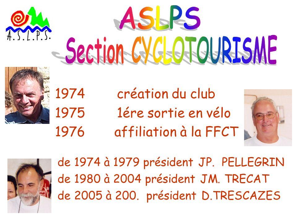 1974 création du club 1975 1ére sortie en vélo 1976affiliation à la FFCT de 1974 à 1979 président JP. PELLEGRIN de 1980 à 2004 président JM. TRECAT de