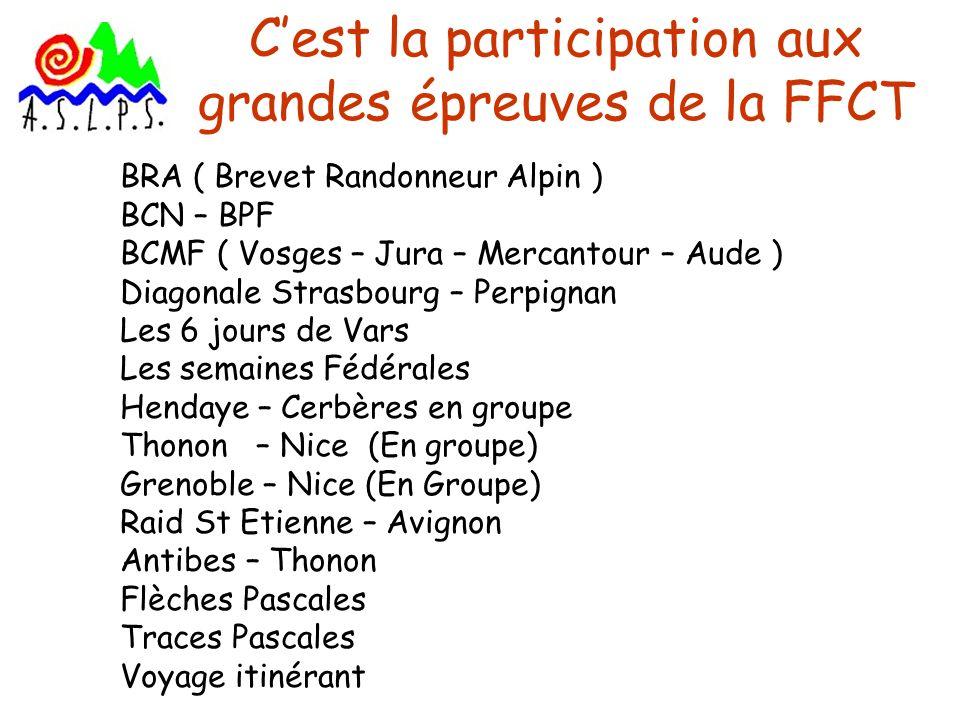 Cest la participation aux grandes épreuves de la FFCT BRA ( Brevet Randonneur Alpin ) BCN – BPF BCMF ( Vosges – Jura – Mercantour – Aude ) Diagonale S