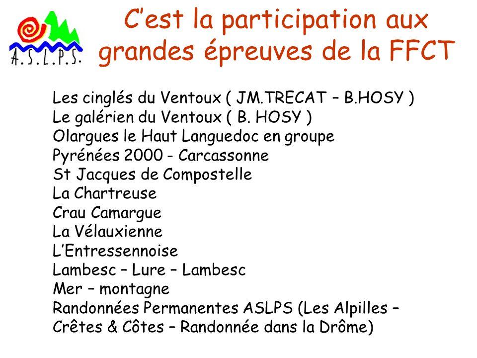 Cest la participation aux grandes épreuves de la FFCT Les cinglés du Ventoux ( JM.TRECAT – B.HOSY ) Le galérien du Ventoux ( B. HOSY ) Olargues le Hau