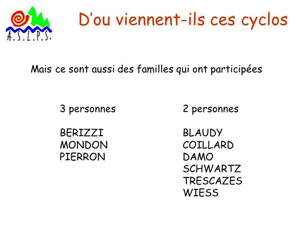 Dou viennent-ils ces cyclos Mais ce sont aussi des familles qui ont participées 3 personnes BERIZZI MONDON PIERRON 2 personnes BLAUDY COILLARD DAMO SC