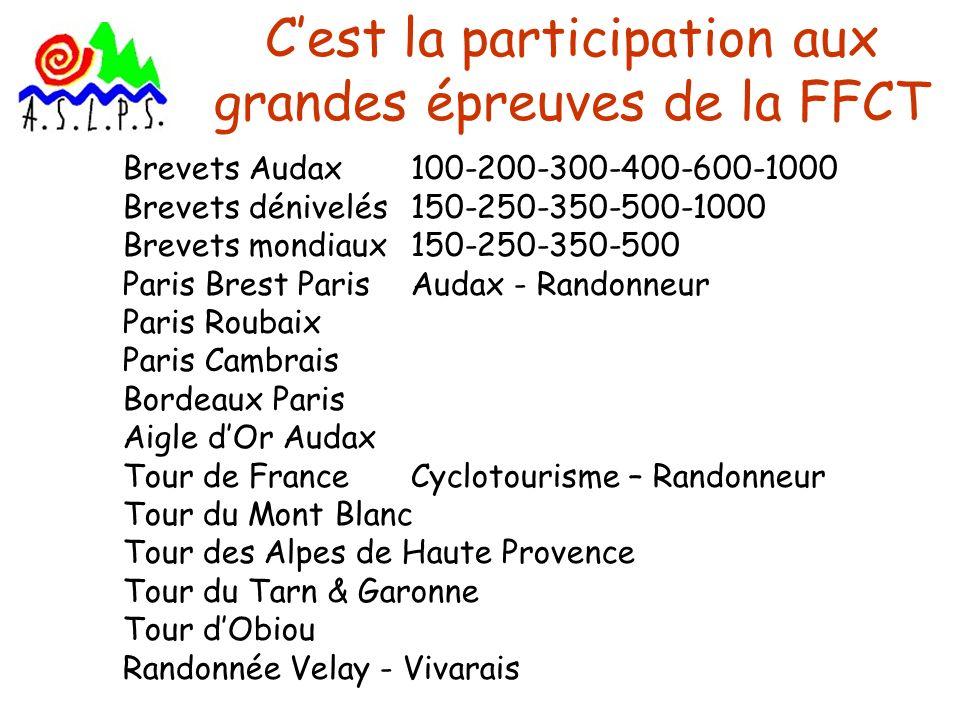 Cest la participation aux grandes épreuves de la FFCT Brevets Audax 100-200-300-400-600-1000 Brevets dénivelés 150-250-350-500-1000 Brevets mondiaux 1