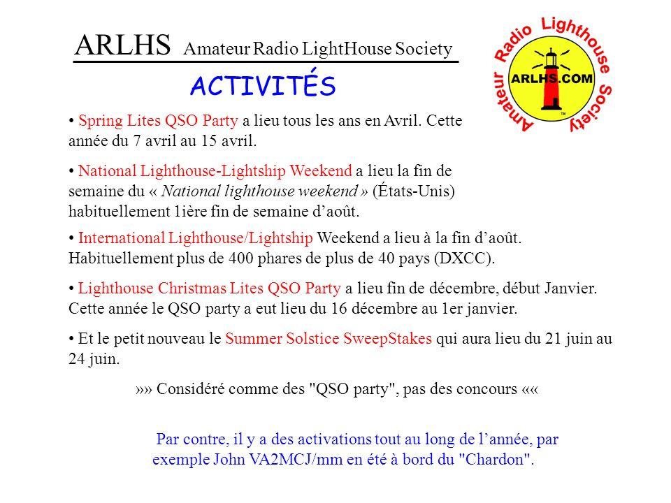 ARLHS Amateur Radio LightHouse Society ACTIVITÉS Spring Lites QSO Party a lieu tous les ans en Avril. Cette année du 7 avril au 15 avril. National Lig