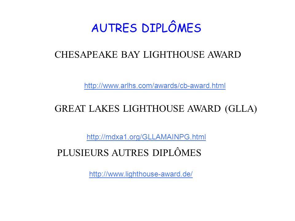 AUTRES DIPLÔMES http://www.lighthouse-award.de/ http://www.arlhs.com/awards/cb-award.html CHESAPEAKE BAY LIGHTHOUSE AWARD GREAT LAKES LIGHTHOUSE AWARD