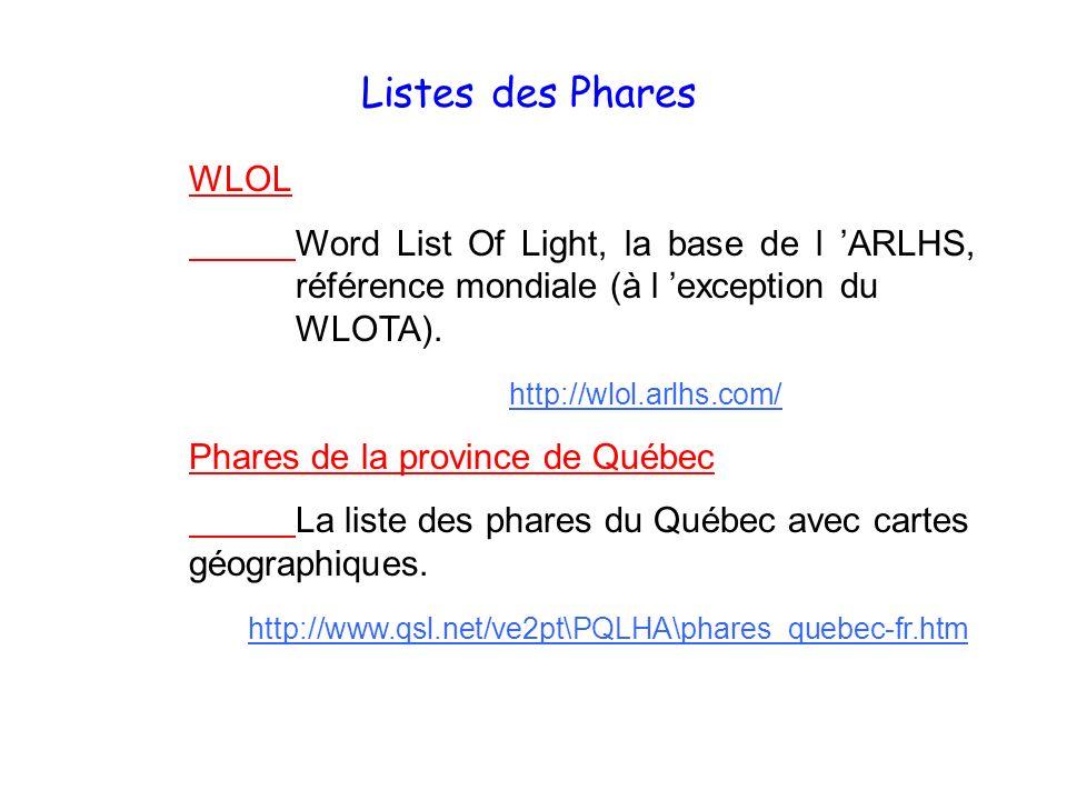 Listes des Phares WLOL Word List Of Light, la base de l ARLHS, référence mondiale (à l exception du WLOTA). http://wlol.arlhs.com/ Phares de la provin