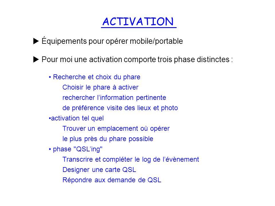 ACTIVATION Équipements pour opérer mobile/portable Pour moi une activation comporte trois phase distinctes : Recherche et choix du phare Choisir le ph