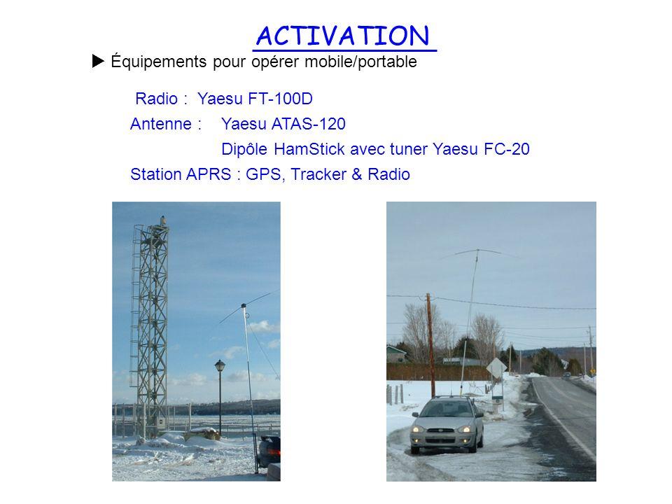 ACTIVATION Équipements pour opérer mobile/portable Radio : Yaesu FT-100D Antenne : Yaesu ATAS-120 Dipôle HamStick avec tuner Yaesu FC-20 Station APRS
